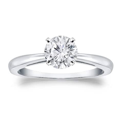 Auriya 14k Gold 1 carat TW Round Solitaire Moissanite Engagement Ring