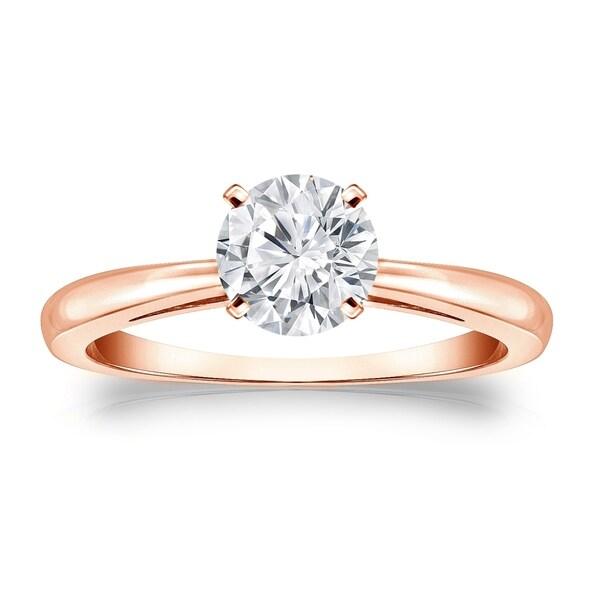 Auriya 14k Gold Round Brilliant 1 carat Solitaire Moissanite Engagement Ring