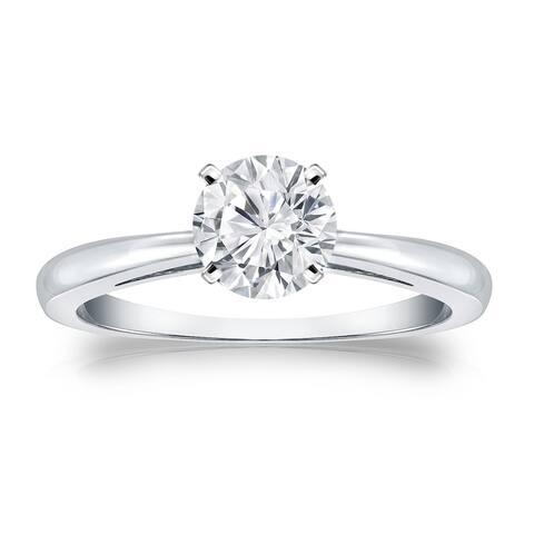 Auriya Brilliant Round 1 carat Moissanite Solitaire Engagement Ring 14K Gold