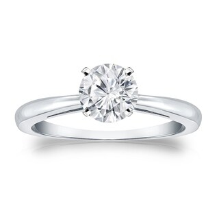 Auriya 14k Gold Round Brilliant 1 carat Solitaire Moissanite Engagement Ring