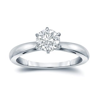 Auriya 14k Gold 6-Prong 2ct Round Solitaire Moissanite Engagement Ring