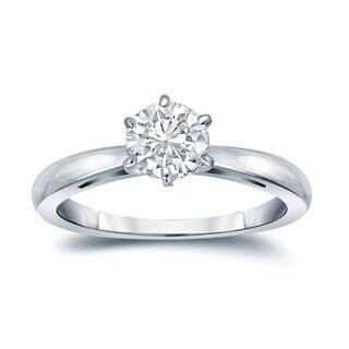 Auriya Round 2 carat Moissanite Solitaire Engagement Ring 14K Gold 6-Prong