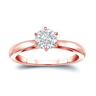 Auriya 14k Gold 6-Prong 1ct Round Solitaire Moissanite Engagement Ring