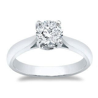 Auriya 14k Gold Round Brilliant 1ct Solitaire Moissanite Engagement Ring