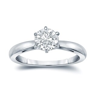 Auriya 14k Gold 3ct 6-Prong Round Solitaire Moissanite Engagement Ring