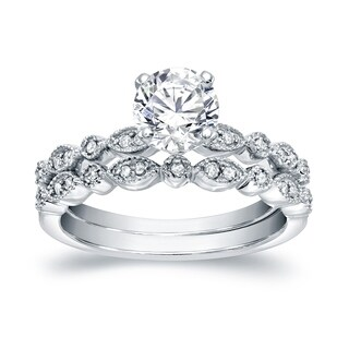 Auriya Stackable Vintage 1ct Round Moissanite Engagement Ring Set with Diamond Accents 14K Gold