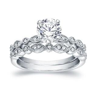 Auriya 14k Gold 2ct Round Moissanite and 1/4ct TDW Diamond Engagement Ring Set