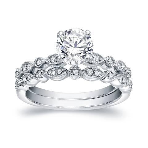Auriya 1 1/2 carat TW Vintage Moissanite and Diamond Engagement Ring Set 14k Gold