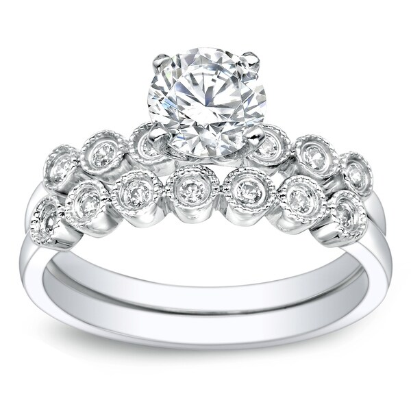 Auriya 1ct TW Vintage Moissanite and Diamond Engagement Ring Set 14K Gold. Opens flyout.
