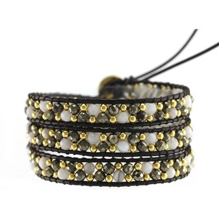 Alchemy Jewelry Pyrite White Agate Gemstone 3 Wrap Bracelet