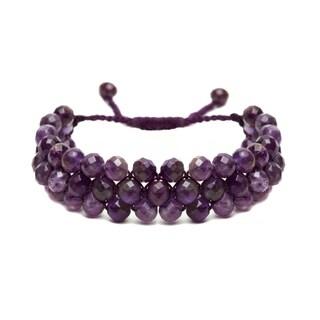 Alchemy Jewelry Ethical Handmade Amethyst Gemstone Adjustable Cuff Bracelet
