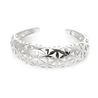 Alchemy Jewelry Handmade Ethical Flower of Life Sterling Silver Plated Cuff Bangle - N/A
