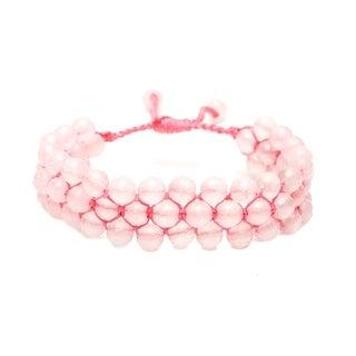 Alchemy Jewelry Ethical Handmade Rose Quartz Adjustable Cuff Bracelet