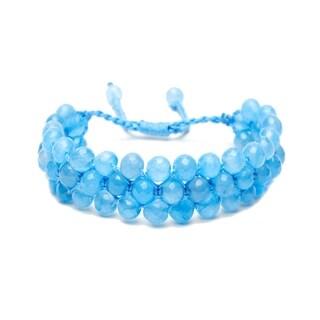 Alchemy Jewelry Ethical Handmade Aqua Chalcedony Adjustable Cuff Bracelet