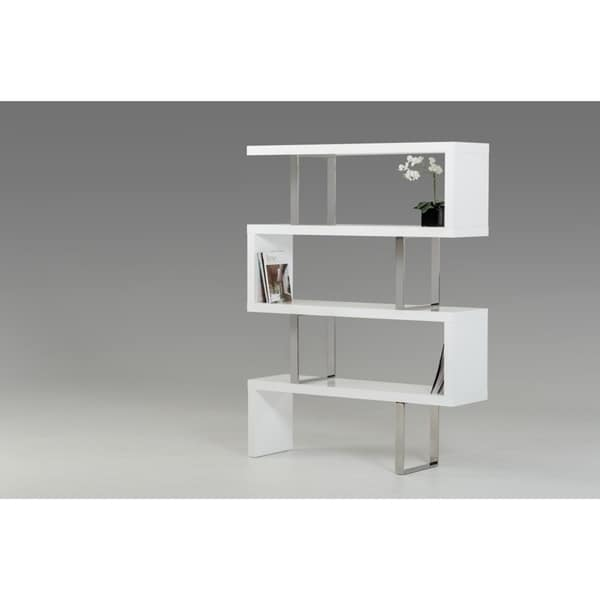 Modrest Maze White High Gloss Bookcase Free Shipping Today 21936877
