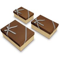 Decorative Nesting Gift Boxes, A Set of 3, Brown Color with A Bow tie