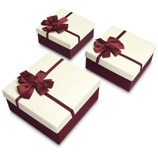 Square Nesting Gift Boxes, A Set of 3 with Ribbon Bow ties