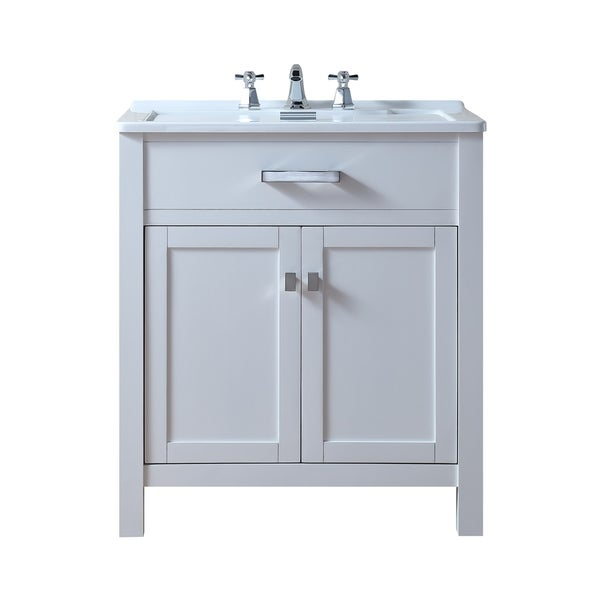 shop stufurhome radiant white wood 30 inch laundry sink cabinet free shipping today. Black Bedroom Furniture Sets. Home Design Ideas