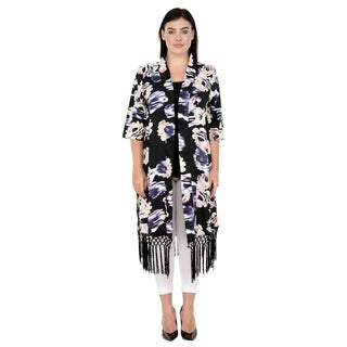 Qurvii Black floral crepe duster with black tassel bottom.