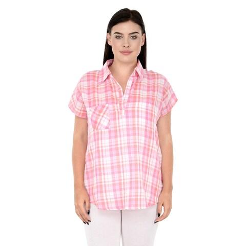 Qurvii Pink plaid one side pocket top.