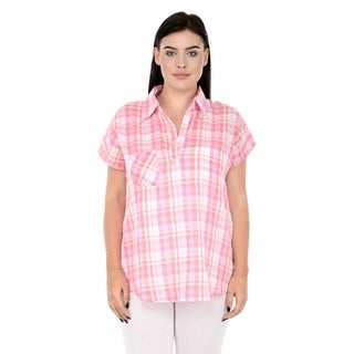 Qurvii Pink plaid one side pocket top.