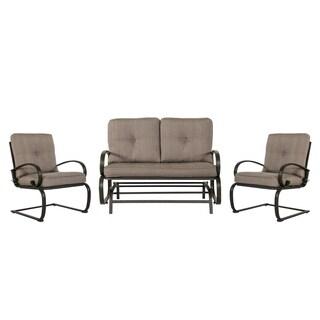 3 Piece Wrought Iron Conversation Set, Gradient Brown