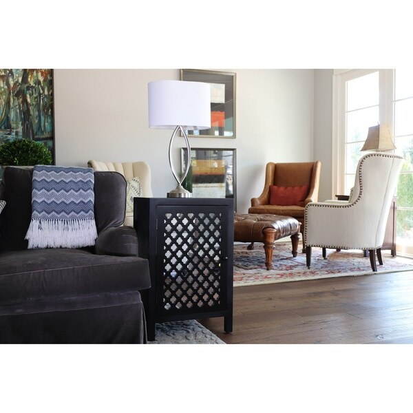 Mirrored Quatrefoil Black End Table With Storage Free Shipping