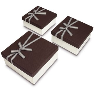 Square Nesting Gift Boxes with A Bow ties, A Set of 3,Brown Color