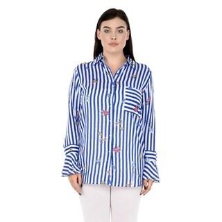Qurvii Blue white striped rayon shirt