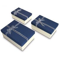 Nesting Gift Boxes with Bow ties, A Set of 3, Blue Color