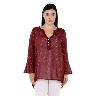 Qurvii Maroon polka back shell button tunic