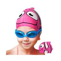 Zodaca Flexible Silicone Swimming Cap Swim Cap for Kids (Non-Toxic, 6 Animal Cartoon Designs)