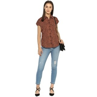 Qurvii Brown animal print one side pocket top.