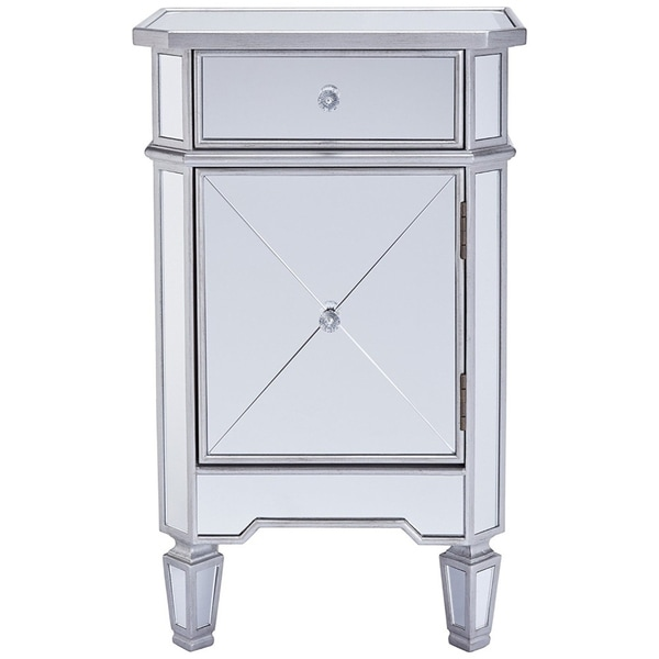 The Urban Port Single Drawer Mirrored Accent Cabinet, Silver & Clear