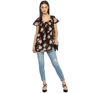 Qurvii Black floral gather top.