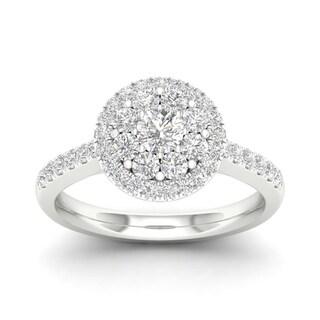 De Couer 10k Gold 3/4ct TDW Diamond Halo Enagement Ring (More options available)