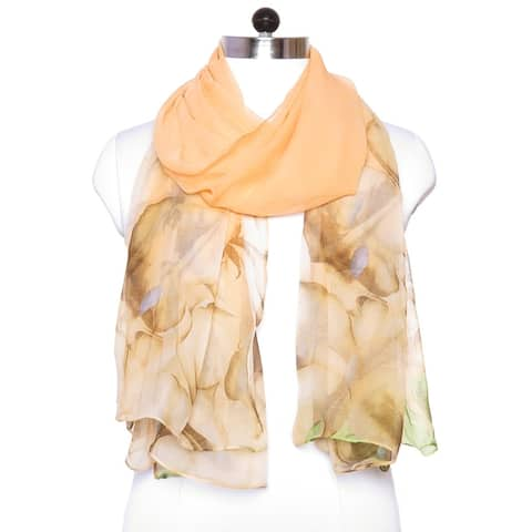 "Peach Women Viscose Silk Fashion Paisley Scarfs Stole Summer Soft Neck Scarves Wrap Ladies Gift - 54""x68"""