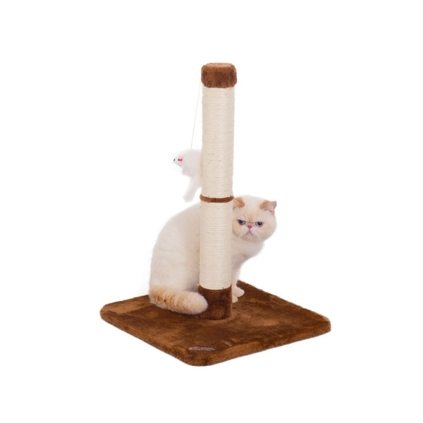 Fluffy Paws Sisal Cat Scratching Post Kitten Scratcher with Mouse Moving Cats Toy and Carpet Play