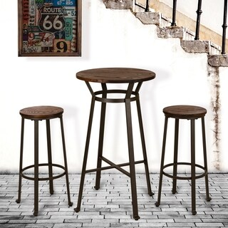 "Glitzhome 41""H Rustic Steel Bar Table w/Elm Wood Top"