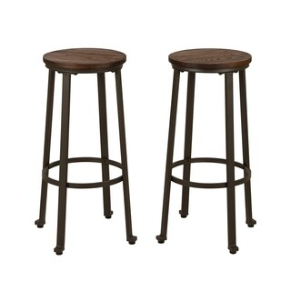 Glitzhome Rustic Steel 29.92-inch High Bar Stool with Elm Wood Top (Set of 2)
