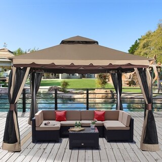"Garden Gazebo 130"" x 130"" Outdoor Gazebo with Mosquito Netting Metal Patio Gazebo Canopy Double Roof Vented BBQ Gazebo, Sand"