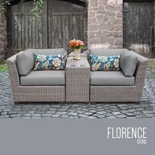 Florence 3 Piece Outdoor Wicker Patio Furniture Set 03b
