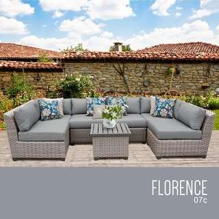 Florence Wicker 7-piece Patio Sectional Set