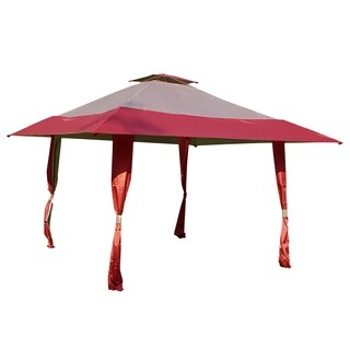 13' x 13' Easy Pop Up Canopy Outdoor Yard Patio Double Roof Gazebo Canopy Tent for Party Event, Burgundy Tan