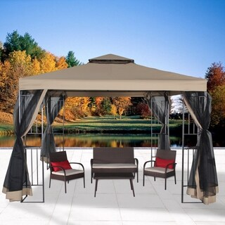 10' x 10'Double Roof Vented Gazebo Canopy with Mosquito Netting, Sand