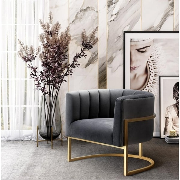 Shop Magnolia Grey Velvet Chair Free Shipping Today