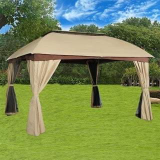 Double Roof Vented Gazebo Canopy With Mosquito Netting, Sand