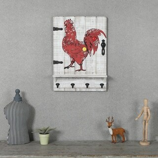 Rooster Wall Plaque with Four Key Hooks