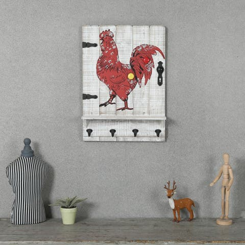 Magnetic Rooster Wall Decor with Four Key Hooks