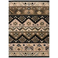 Artist's Loom Astyll Collection Black/Brown/Tan Wool Handmade Southwestern Area Rug - 8' x 10'